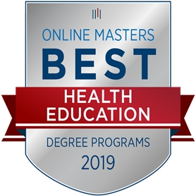 This is a graphic that says Online Masters Best Health Education Degree Programs 2019