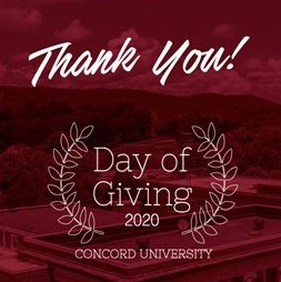This graphic says Thank you Day of Giving 2020 Concord University.