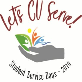 This is a logo that says Let's CU Serve! Student Service Days - 2019