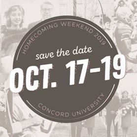 This is a logo for Homecoming Weekend 2019 that says