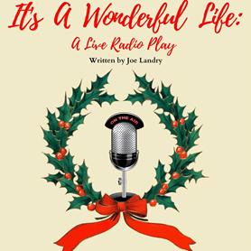 This is a graphic of a wreath of holly with a radio microphone in the middle and the words,