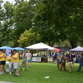 This is a photo of people at the Town Social outside on CU's front lawn. Vendor tents are in the background.