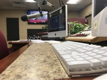 Photo of the radio station desk