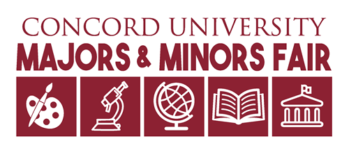Concord University Majors & Minors Fair Logo with icons underneath - art palette, microscope, glove, book, columned building.