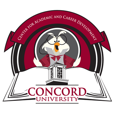Academic Success Center Logo with owl mascot, Owlfred in the center over an open book with the Concord University bell tower logo, and a maroon ribbon above with the text Academic Success Center